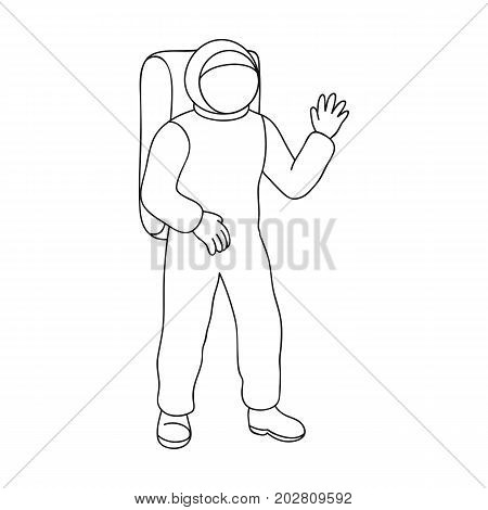 Cosmic space suit. Space technology single icon in outline style vector symbol stock illustration .