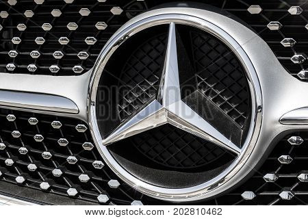 Indianapolis - Circa August 2017: Mercedes-Benz Logo. Mercedes-Benz is a global automobile manufacturer and a division of Daimler AG IV