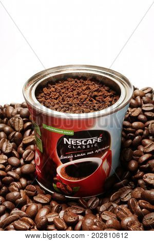Kiev, Ukraine - July 11, 2017: Nescafe is a brand multinational food and beverage company, first introduced on April 1, 1938.