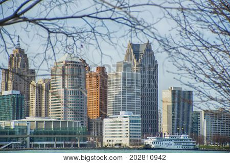 DETROIT, MI - APRIL 8, 2017: View of downtown Detroit with office buildings overlooking the Financial District