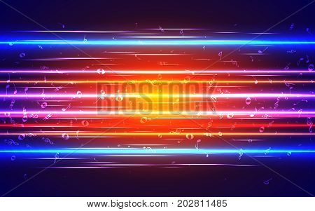 Electronic Music Abstract Background. Musical Notes On The Background Of The Motion Of Neon Strips A
