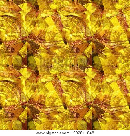 Seamless metal reflective pattern with foil texture. Gold, orange and brown seamless pattern resembling molten metal. 3d rendering