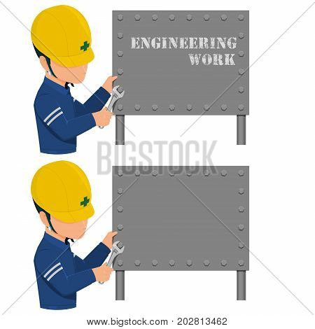 An engineer is fixing the metal sign with the spanner on transparent background