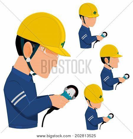 Set of worker is using the grinder on transparent background