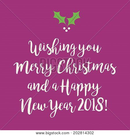 Purple Pink Merry Christmas And Happy New Year Greeting Card With A Snowflake