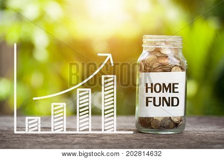 Home fund Word With Coin In Glass Jar and graph up. Financial Concept