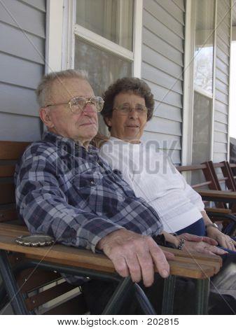 Senior Couple On Front Porch
