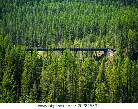 A railroad trestle that spans a ravine in the mountains.