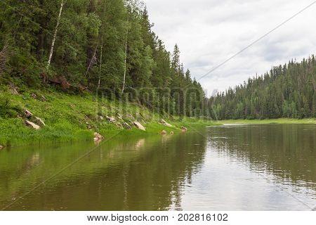 A left tributary of the Yenisei River. Krasnoyarsk region, Russia
