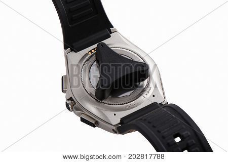 The Back Of Smart Watch With Opener, Isolated On White