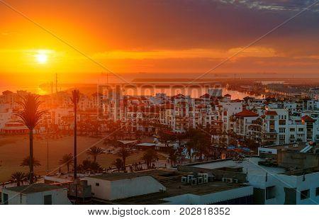 Marina In Agadir City At Sunset, Morocco