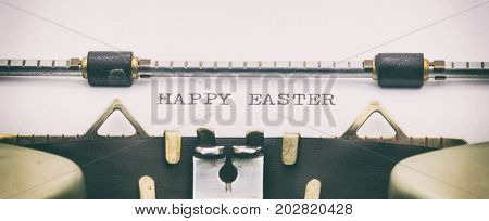 Close-up of HAPPY EASTER on a typewriter sheet