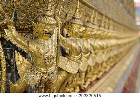The Goden Garuda in Temple of The Emerald Buddha (Wat Phra Kaew) BANGKOK THAILAND