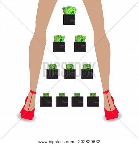 financial pyramid concept. business mlm. network marketing. Wallet with money. women's legs in red shoe