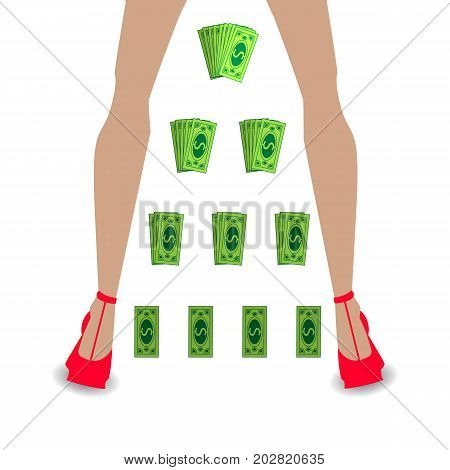 financial pyramid concept. business mlm. network marketing. cashing paper. women's legs in red shoes
