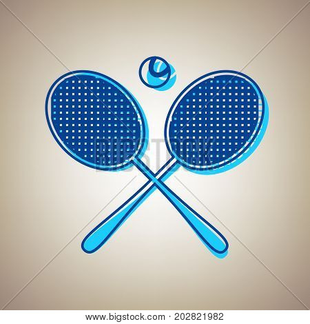 Two tennis racket with ball sign. Vector. Sky blue icon with defected blue contour on beige background.