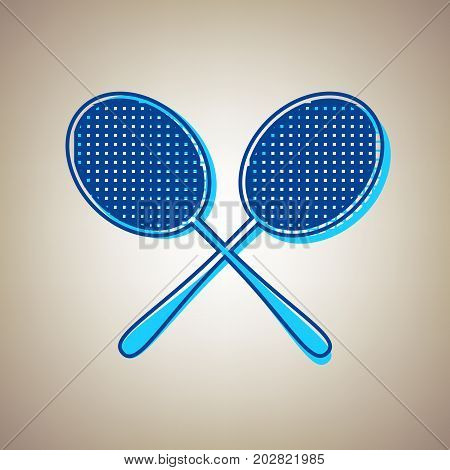 Two tennis racket sign. Vector. Sky blue icon with defected blue contour on beige background.