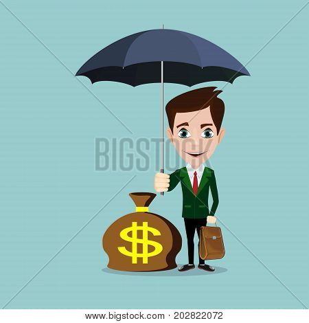 Business Man with an umbrella protecting money to investments, money management. Saving money for any storm problem will come. Business concept.