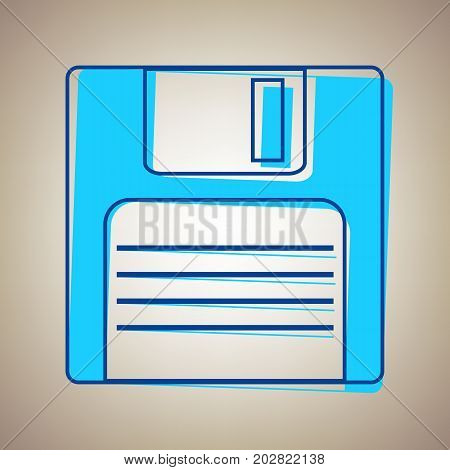 Floppy disk sign. Vector. Sky blue icon with defected blue contour on beige background.