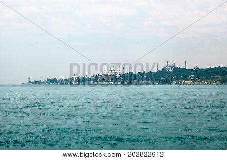 A beautiful view of the Blue Mosque is also called Sultanahmet and the Aya Sofia Museum in the European part of Istanbul. Amazing view of the European part of Istanbul.
