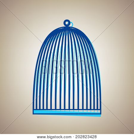 Bird cage sign. Vector. Sky blue icon with defected blue contour on beige background.