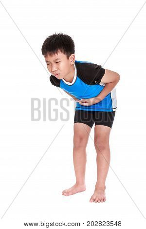 Asian Child Athletes Suffering From Stomachache. Isolated On White Background.