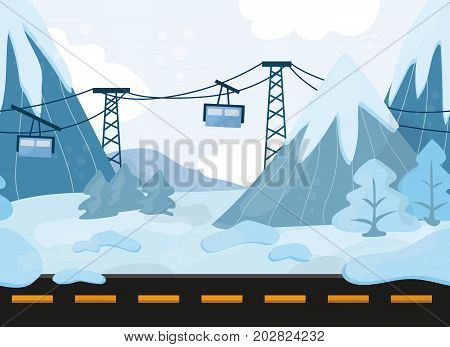 Seamless cartoon hills landscape, vector background with ground, hills, mountains and Funicular