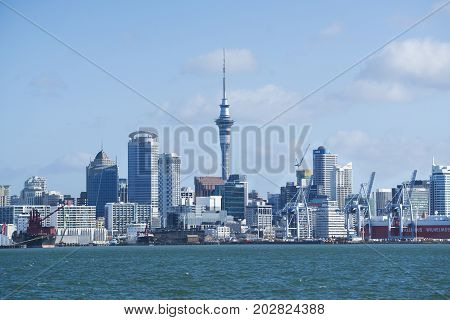 Auckland New Zealand- May 5 2017. Cityscape of Auckland sky tower.