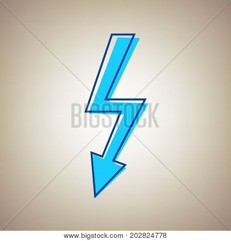 High voltage danger sign. Vector. Sky blue icon with defected blue contour on beige background.