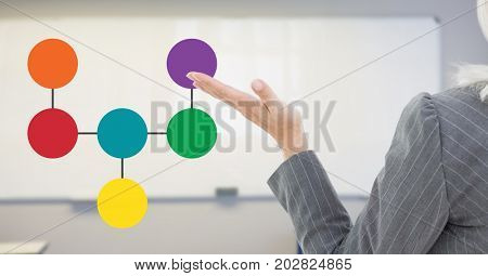 Digital composite of Open hand with mind map