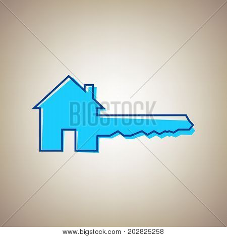 Home Key sign. Vector. Sky blue icon with defected blue contour on beige background.