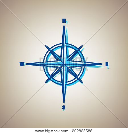 Wind rose sign. Vector. Sky blue icon with defected blue contour on beige background.