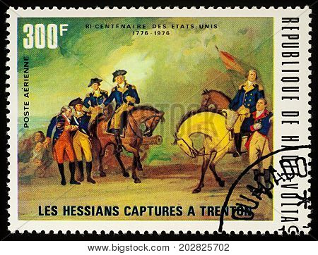 Moscow Russia - September 04 2017: A stamp printed in Upper Volta (Burkina Faso) shows The Hessians Captured in Trenton (1776) series