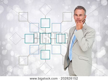 Digital composite of Businessman and Colorful mind map over sparkling background