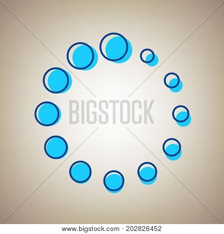 Circular loading sign. Vector. Sky blue icon with defected blue contour on beige background.