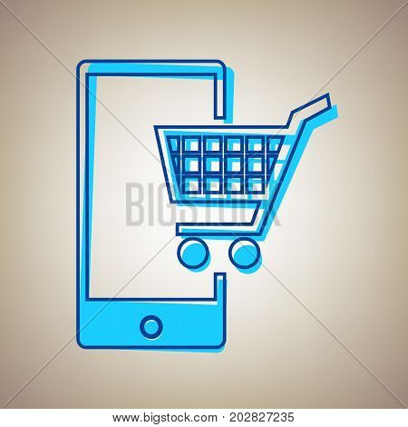Shopping on smart phone sign. Vector. Sky blue icon with defected blue contour on beige background.