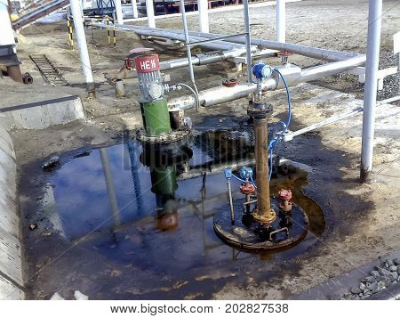 Breakage Of Oil In The Quarry Of A Drainage Tank For Pumping Waste Water.