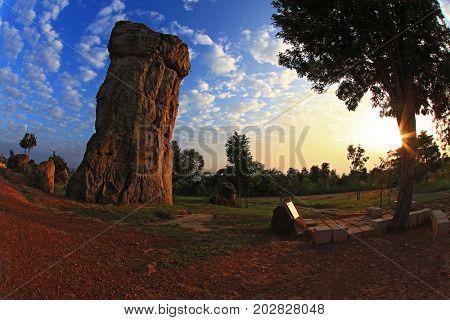 silhouette of Mor Hin Khao, Thailand stonehenge, with beautiful sunrise