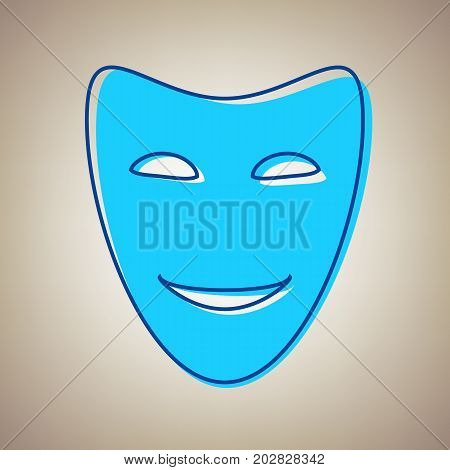 Comedy theatrical masks. Vector. Sky blue icon with defected blue contour on beige background.