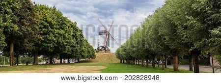 Panoramic view Sint Janshuismolen wind mill