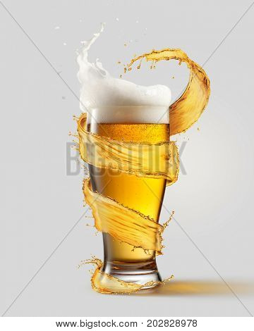 A cold glass of beer and a splash