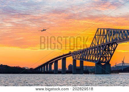 Tokyo landmark , Tokyo Gate Bridge in Tokyo Japan Sunset