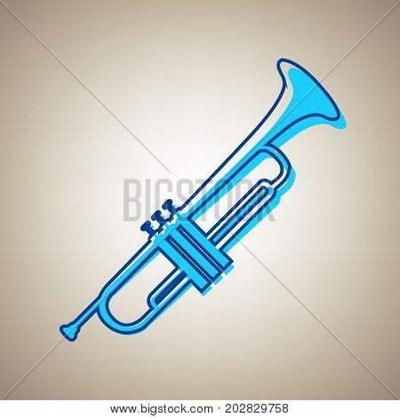 Musical instrument Trumpet sign. Vector. Sky blue icon with defected blue contour on beige background.