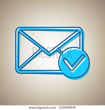 Mail sign illustration with allow mark. Vector. Sky blue icon with defected blue contour on beige background.