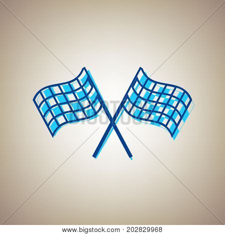 Crossed checkered flags logo waving in the wind conceptual of motor sport. Vector. Sky blue icon with defected blue contour on beige background.