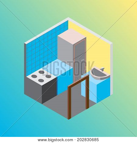 Vector design concept with isometric 3d hostel or hotel kitchen room illustration