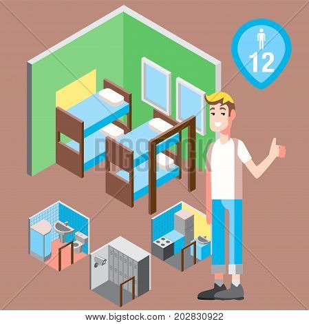 Vector design concept with isometric 3d hostel or hotel rooms illustration for men