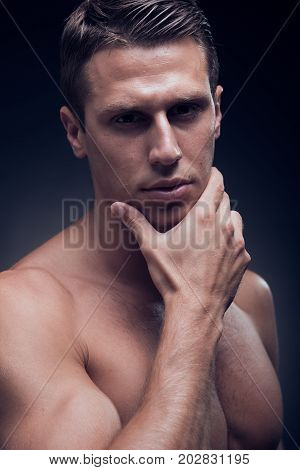 Headshot, Face Head Headshot Close Up, One Young Adult Man, Fitness Model, Muscular, Head And Should