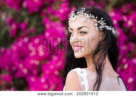 Happy Girl With Jewelry Diadem In Brunette Hair
