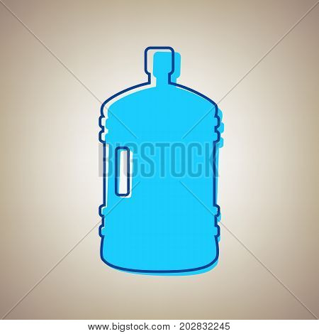 Plastic bottle silhouette sign. Vector. Sky blue icon with defected blue contour on beige background.